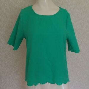 $3💟EVERLY Mint Green Scalloped Blouse❤$3 BUNDLED❤